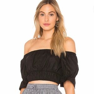 majorelle cold shoulder crop Top